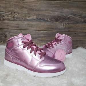 New Nike Jordan 1 Mid SE Metallic Pink Rise Shoes